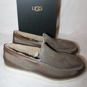 UGG MEN'S FASCOT LEATHER SHEARLING SLIPPER SHOES